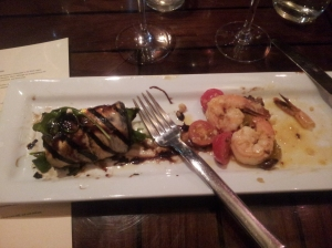 Eggplant roulade and sauteed shrimp
